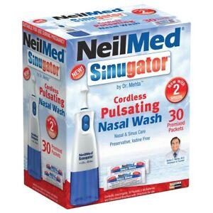 NeilMed Sinugator Cordless Pulsating Nasal Wash + 30 Sachets Saline Irrigation