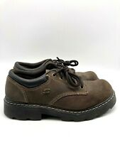 Skechers Womens Platform Brown Hiking Shoes Suede Leather 45120 Brown Size 9