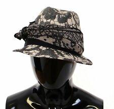 a26fee2573b01 NEW  460 DOLCE   GABBANA Hat Black Trilby Lace Silk Runway Floral Fedora 58    L