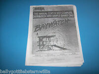Sega BAYWATCH PINBALL MACHINE INSTRUCTION SERVICE MANUAL NOT COMPLETE SAMPLE