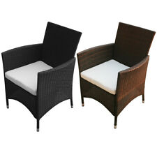 2pc Garden Furniture Chair Poly Rattan Wicker Lounge Outdoor Patio Brown/Black