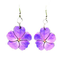 Green Tree Jewelry Violet Flowers Wood Wooden Laser Cut Earrings #165