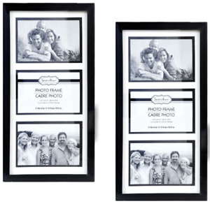 """4x6 Photo Black 3-Picture Collage Frame 2 Pack Glass Pane Wall Mount 15""""x8"""""""