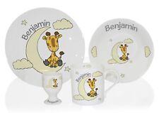 Personalised Sweet Dreams Giraffe Breakfast Set Ceramic Plate Bowl Mug Egg Cup