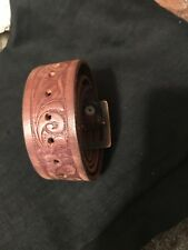 Men's Brave Beltworks Italian Leather Large Brass Buckle Belt Brown Size 36