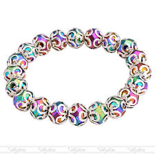 1PC ELASTIC Colorful Crystal Glass Faceted Flower Bead Bangle Bracelet M* FASHIO