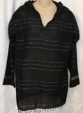 Lemlem Shoka Hooded Black With Silver Threads Long Sleeve SIze S