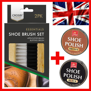 Leather Boot Shoe Brush Wax Polish Kit Buffing Shine Clean Set Black Brown