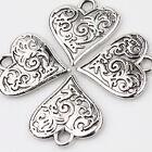 Wholesale 10x Heart Shape Tibetan Silver Charm Pendant 16x15mm Jewelry Finding