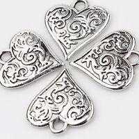 10Pcs Heart Tibet Tibetan Silver Charms Pendants Jewelry Findings 16X15mm