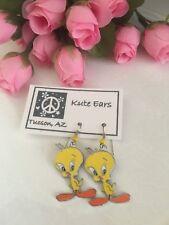 Silvertone Standing Yellow Tweety Bird Dangle Earrings