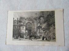 GRAVURE 1835 GRENADE ESPAGNE GRANADA GATEWAY SQUARE VIVA REMBLA