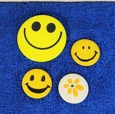3 Vintage Smiley Face Pinback, Pins, Buttons & Bonus Flower Pinback 1970s-1980s