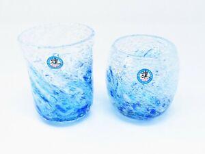 "Set of 2 ""Blue wave"" Ryukyu Bubble Glasses (Handmade in Okinawa, Japan)"