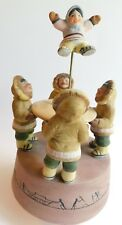 """Vintage Eskimo Music Box """"Blanket Toss"""" R Longford 1986 Pottery Action and Music"""