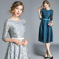 2019 Spring Women's Fashion Temperament Lace Tunic 3/4 Sleeve A-line Chic Dress