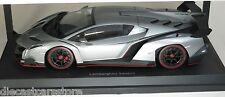 Kyosho 1/18 Scale Lamborghini Veneno Grey W/ Rd Body Stripes Car Model 09501wg
