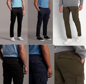 """Lyle & Scott Men Cotton Casual Combat Slim Fit Cargo Trousers Khakis 28-38"""""""