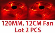 Lots 2 Red 4-LED Light Clear 120mm PC Computer Case Cooling Fan Mod Autolizer