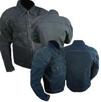 Genuine Denim Jeans Motorcycle Motorbike Jacket protective armour blue & black