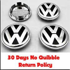 RUOTA IN LEGA VW VOLKSWAGEN CROMATO center caps badge x4 65mm PASSAT POLO GOLF BORA