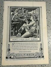 Vintage1934 Magazine Ad for Pabst Blue Ribbon Beer. Full Page!