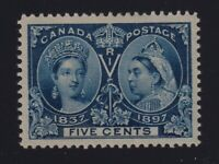 Canada Sc #54 (1897) 5c deep blue Diamond Jubilee Mint VF LH