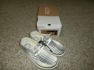 NIB Hey Dude Wendy Plaid Grey Womens Casual Lightweight Shoes Size 5