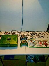 Original xbox halo edition console with games and Clear Green Controller