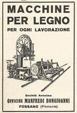 Z2400 Macchine lavorazione legno BONGIOANNI - Fossano - Pubblicità 1929 - Advert