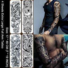 4 Sheets Large Waterproof Full Arm Tattoo Sticker Skull Rose Fake Tattoos Sleeve