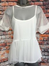 NEW NEXT 12 Long White Mesh Frill Layer 2 In 1 Top Short Sleeve Tunic