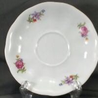"Karolina China Saucer 5.5"" White Floral Gold Trim (FAV7)"