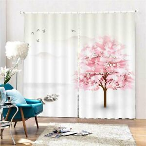 Pink Cross Branches 3D Curtain Blockout Photo Printing Curtains Drape Fabric