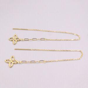 Fine 18K Yellow Gold Woman Lucky Flower O Chain Stud Earrings Line 1-1.3g