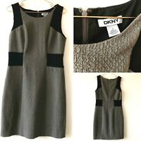 DKNY Grey Black Textured Shift Fitted Stretch Dress  Galaxy US6 UK10 Smart