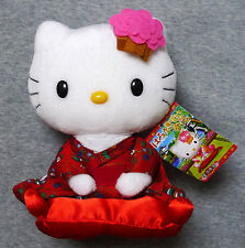 "HELLO KITTY Kimono on cushion 7"" inches Plush Doll 2006 Sanrio Japan Rare"