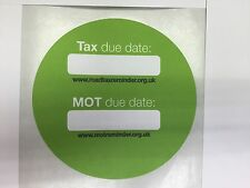 3 x ROAD TAX / MOT REMINDER STICKERS In GREEN COLOUR (self adhesive)