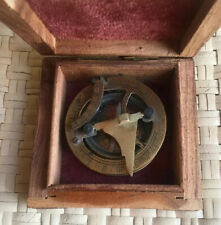 West London Brass Compass Ornate Sundial In Wooden Box