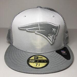 New England Patriots White Cloud Mesh Back 59FIFTY Hat Men Sz 7 5/8 Gray UV New