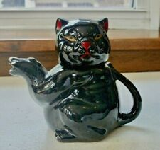 """Small Cat Teapot with Gold eyes and Red Nose  5"""" Tall Perfect Condition"""