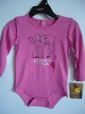 Infant Girls CARHARTT Horses Always Be Your Baby Long Sl Pink One-piece 9 mo NEW