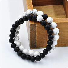 2Pcs Couples His&Hers Distance Bracelet Lava Bead Matching YinYang Lovers Gift2Y