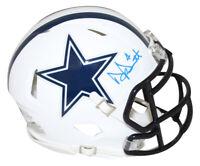Dak Prescott Autographed Dallas Cowboys Flat White Mini Helmet BAS 28661
