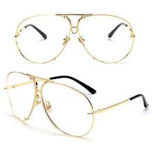 Women Large Oversize Fashion Aviator Metal Flat Top Fashion Sunglasses