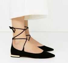 Zara black Lace Up Flat Shoes Size EU 39 US 8 . Ankle Lace