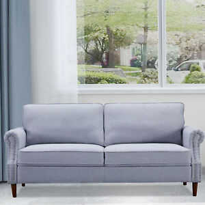 Sofa Couch Linen Fabric w/Thick Cushion for Bedroom Small Space Light Gray