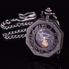 Polygon Black Skeleton 12H Roman Numerls Dial Hand Wind Mechanical Pocket Watch