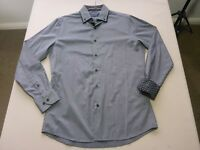 047 MENS NWOT TAROCASH BLACK / SILVER GREY STRIPED L/S SHIRT SZE SML $90 RRP.