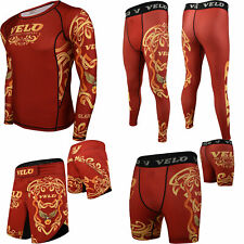 Velo Mma Shorts Rash Guard Training Compression Leggings Fitness Exercise Gym
